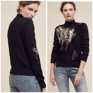 Anthropologie Knitted Knotted Fete Sequin Sweater